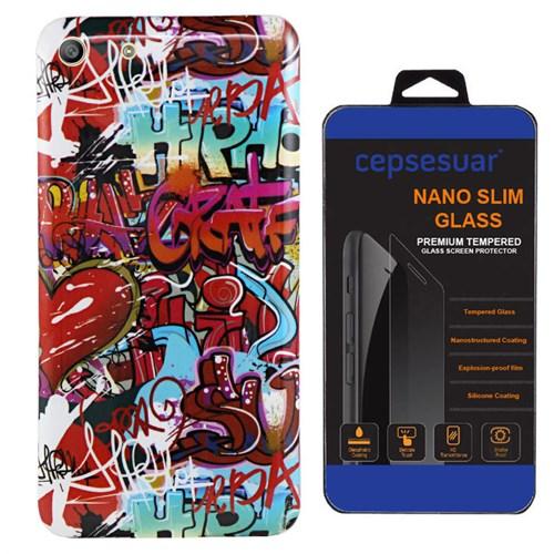 Cepsesuar Sony Xperia M5 Kılıf Silikon Resimli Grafiti - Kırılmaz Cam