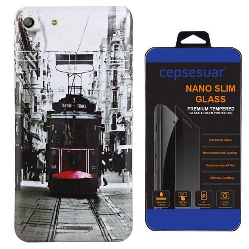 Cepsesuar Sony Xperia M5 Kılıf Silikon Resimli Tramvay - Kırılmaz Cam