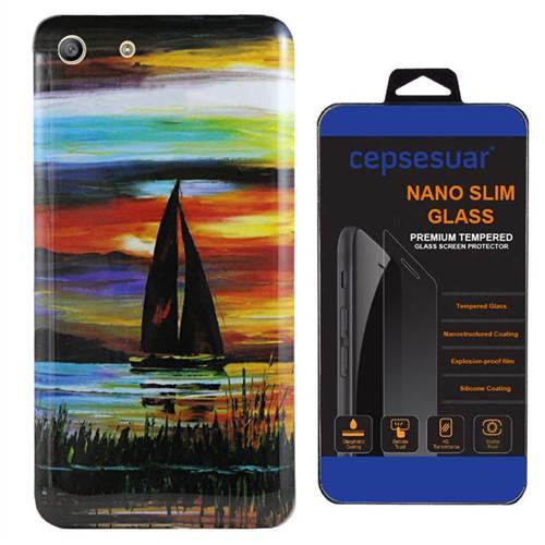 Cepsesuar Sony Xperia M5 Kılıf Silikon Resimli Yelken - Kırılmaz Cam