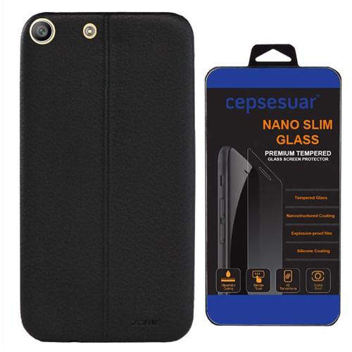 Cepsesuar Sony Xperia M5 Kılıf Silikon Dikişli Siyah - Kırılmaz Cam