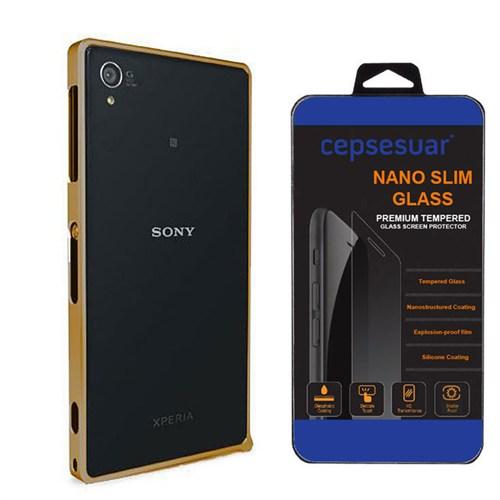 Cepsesuar Sony Xperia Z1 Kılıf Bumper Gold - Kırılmaz Cam