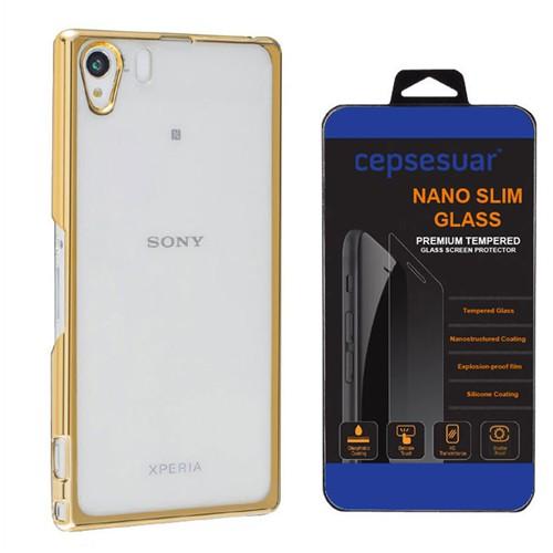 Cepsesuar Sony Xperia Z1 Kılıf Silikon Lazer Gold - Kırılmaz Cam