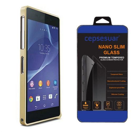 Cepsesuar Sony Xperia Z2 Kılıf Bumper Gold - Kırılmaz Cam