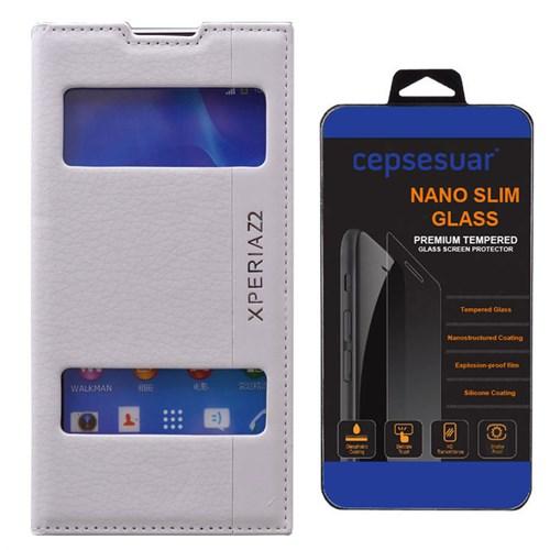 Cepsesuar Sony Xperia Z2 Kılıf Magnum Kapaklı Beyaz - Kırılmaz Cam
