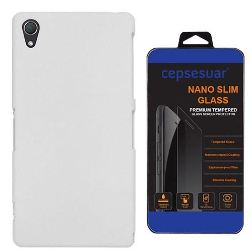 Cepsesuar Sony Xperia Z2 Kılıf Rubber Arka Kapak Beyaz - Kırılmaz Cam