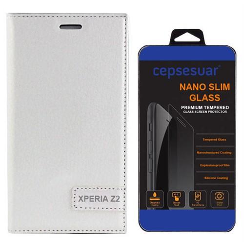 Cepsesuar Sony Xperia Z2 Kılıf Safir Kapaklı Beyaz - Kırılmaz Cam