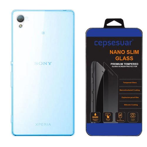 Cepsesuar Sony Xperia Z3 Kılıf Silikon 0.2 Mm Mavi - Kırılmaz Cam