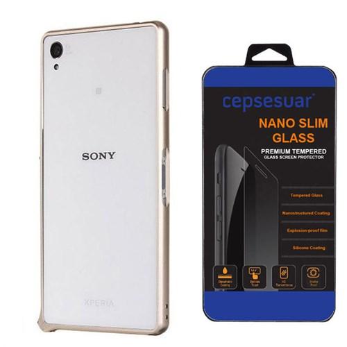 Cepsesuar Sony Xperia Z3 Kılıf Bumper Gold - Kırılmaz Cam