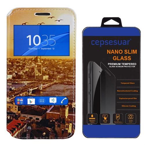 Cepsesuar Sony Xperia Z3 Kılıf Standlı Manzara - Kırılmaz Cam