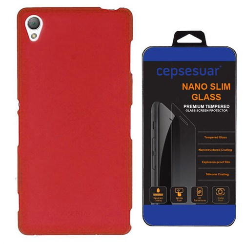 Cepsesuar Sony Xperia Z3 Kılıf Silikon Kırmızı - Kırılmaz Cam