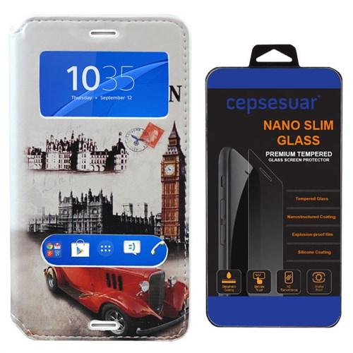 Cepsesuar Sony Xperia Z3 Compact Kılıf Standlı Araba - Kırılmaz Cam