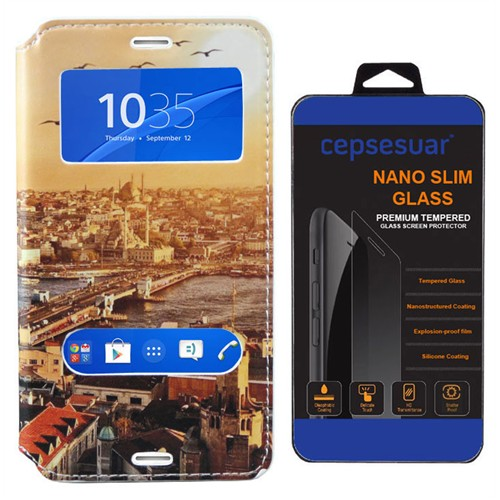 Cepsesuar Sony Xperia Z3 Compact Kılıf Standlı Manzara - Kırılmaz Cam