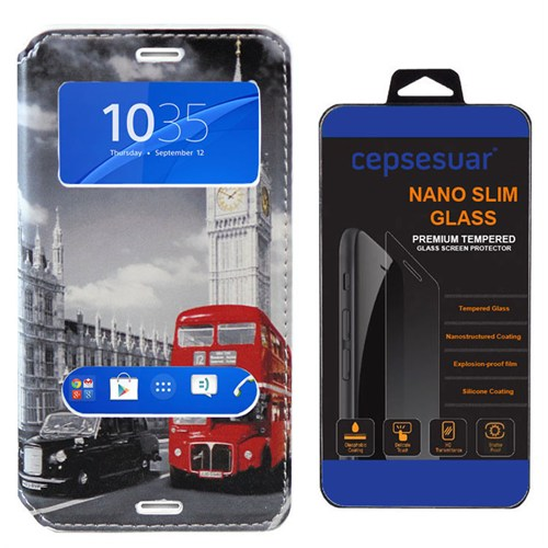Cepsesuar Sony Xperia Z3 Compact Kılıf Standlı Otobüs - Kırılmaz Cam