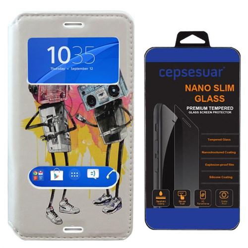 Cepsesuar Sony Xperia Z3 Compact Kılıf Standlı Tape - Kırılmaz Cam
