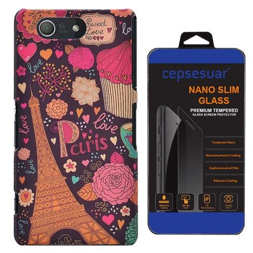 Cepsesuar Sony Xperia Z3 Compact Kılıf Desenli Arka Kapak Paris - Kırılmaz Cam