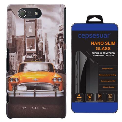 Cepsesuar Sony Xperia Z3 Compact Kılıf Desenli Arka Kapak Taksi - Kırılmaz Cam
