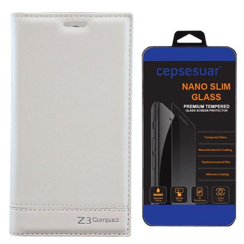 Cepsesuar Sony Xperia Z3 Mini Kılıf Milano Beyaz - Kırılmaz Cam