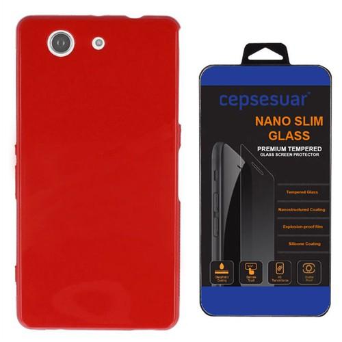 Cepsesuar Sony Xperia Z3 Mini Kılıf Silikon Kırmızı - Kırılmaz Cam