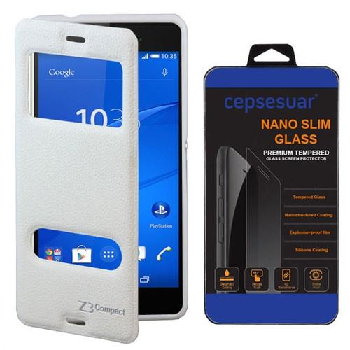 Cepsesuar Sony Xperia Z3 Mini Kılıf Vantuzlu Beyaz - Kırılmaz Cam