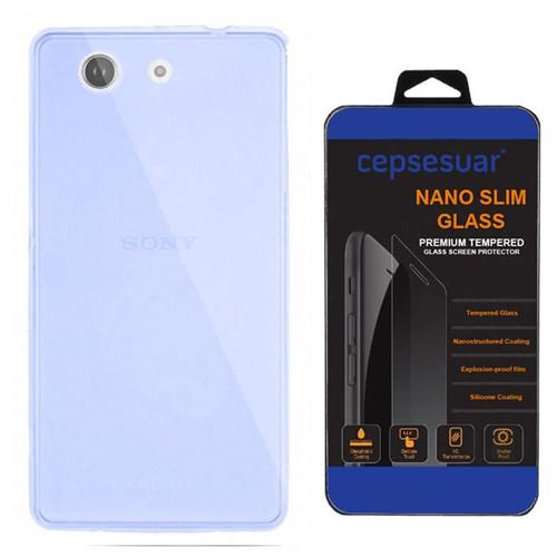 Cepsesuar Sony Xperia Z3 Mini Compact Kılıf Silikon 0.2 Mm Mavi - Kırılmaz Cam