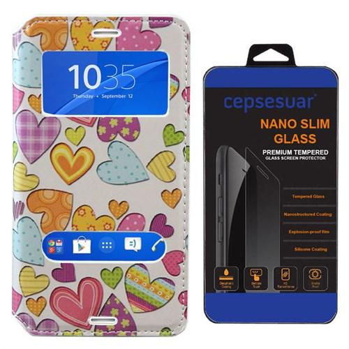 Cepsesuar Sony Xperia Z3 Mini Compact Kılıf Standlı Kalpli - Kırılmaz Cam