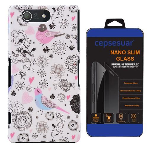 Cepsesuar Sony Xperia Z3 Mini Compact Kılıf Desenli Arka Kapak Kuşlu - Kırılmaz Cam