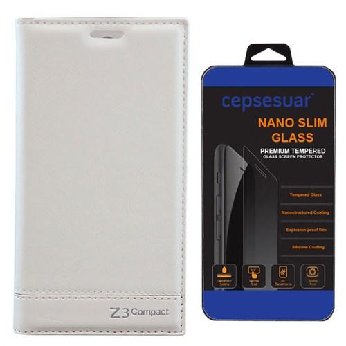 Cepsesuar Sony Xperia Z3 Mini Compact Kılıf Milano Beyaz - Kırılmaz Cam