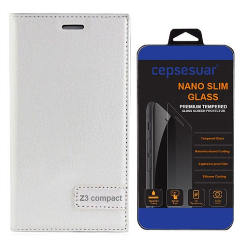 Cepsesuar Sony Xperia Z3 Mini Compact Kılıf Safir Kapaklı Beyaz - Kırılmaz Cam