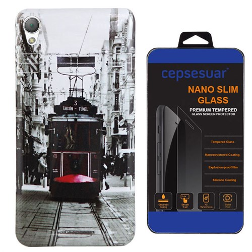 Cepsesuar Sony Xperia Z3 Plus Kılıf Silikon Resimli Tramvay - Kırılmaz Cam