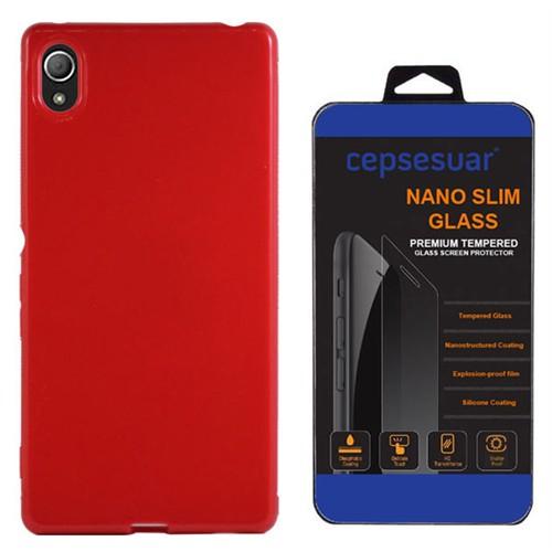 Cepsesuar Sony Xperia Z3 Plus Kılıf Silikon Kırmızı - Kırılmaz Cam