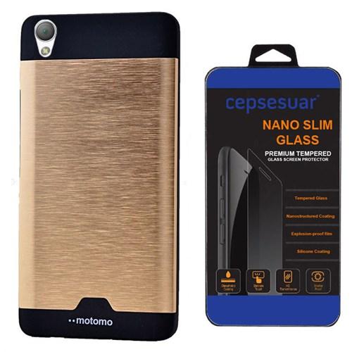 Cepsesuar Sony Xperia Z3- Plus Kılıf Motomo Gold - Kırılmaz Cam
