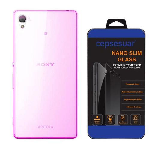Cepsesuar Sony Xperia Z3- Plus Kılıf Silikon 0.2 Mm Pembe - Kırılmaz Cam