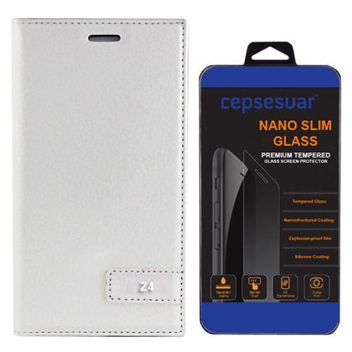 Cepsesuar Sony Xperia Z3- Plus Kılıf Safir Kapaklı Beyaz - Kırılmaz Cam