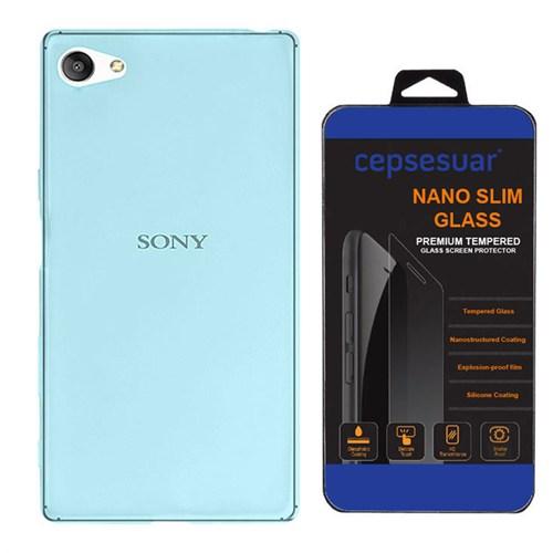 Cepsesuar Sony Xperia Z5 Compact Kılıf Silikon 0.2 Mm Mavi - Kırılmaz Cam