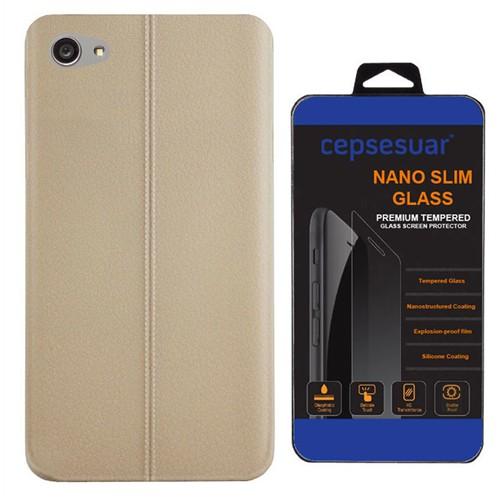 Cepsesuar Sony Xperia Z5 Compact Kılıf Silikon Dikişli Bej - Kırılmaz Cam
