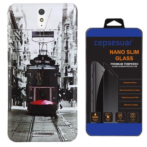 Cepsesuar Sony Xperia C5 Ultra Kılıf Silikon Resimli Tramvay - Kırılmaz Cam