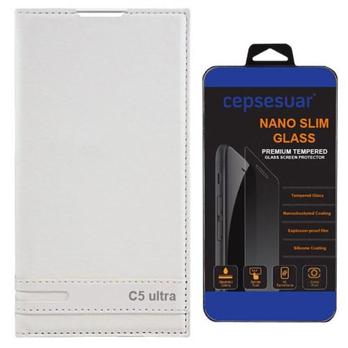 Cepsesuar Sony Xperia C5 Ultra Kılıf Elite Kapaklı Beyaz - Kırılmaz Cam