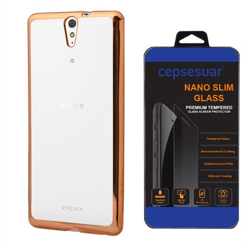 Cepsesuar Sony Xperia C5 Ultra Kılıf Silikon Lazer Gold - Kırılmaz Cam