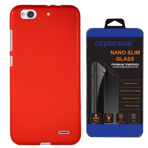 Cepsesuar Vodafone Smart 6 Ultra Kılıf Silikon Kırmızı - Kırılmaz Cam