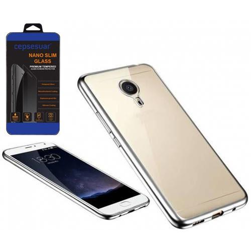 Cepsesuar General Mobile Gm5 Plus Kılıf Silikon Lazer Gümüş - Kırılmaz Cam