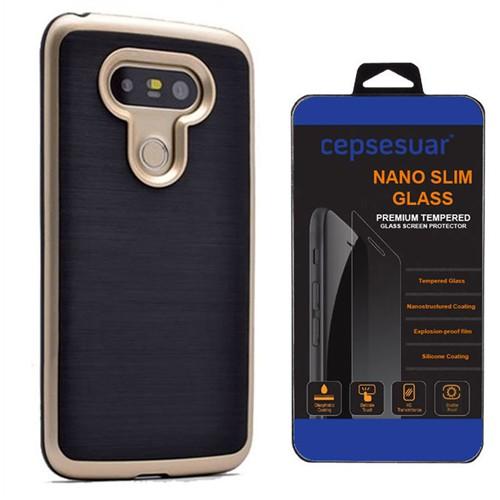 Cepsesuar Lg G5 Kılıf İnfinity Motomo Gold - Kırılmaz Cam