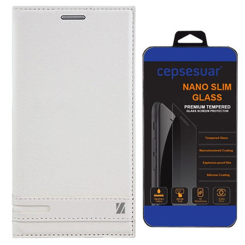 Cepsesuar Samsung Galaxy J1 Mini Kılıf Elite Kapaklı Beyaz - Kırılmaz Cam