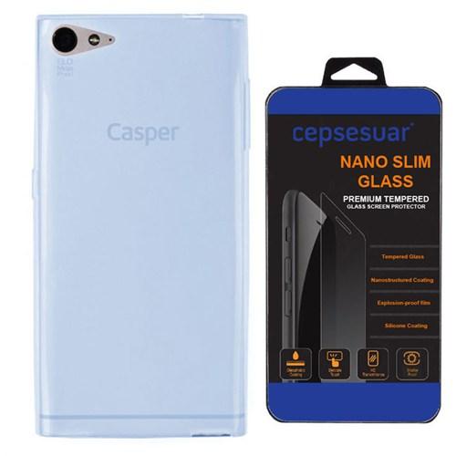 Cepsesuar Casper Via V9 Kılıf Silikon 0.2 Mm Mavi - Kırılmaz Cam