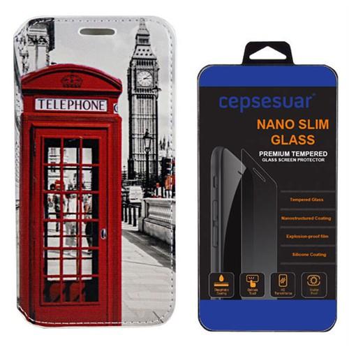 Cepsesuar Htc Desire 526G Kılıf Standlı Telefon - Kırılmaz Cam