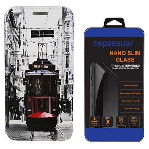 Cepsesuar Htc Desire 526G Kılıf Standlı Tramvay - Kırılmaz Cam