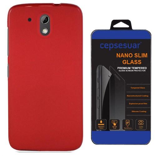 Cepsesuar Htc Desire 526G Kılıf Silikon Kırmızı - Kırılmaz Cam
