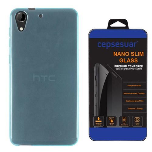 Cepsesuar Htc Desire 728G Kılıf Silikon 0.2 Mm Mavi - Kırılmaz Cam
