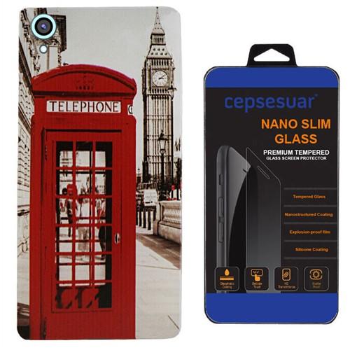 Cepsesuar Htc Desire 820 Kılıf Silikon Desenli Telefon - Kırılmaz Cam