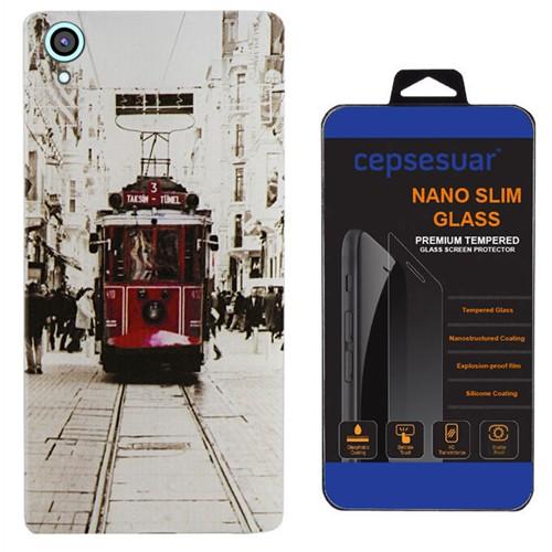 Cepsesuar Htc Desire 820 Kılıf Silikon Desenli Tramvay - Kırılmaz Cam