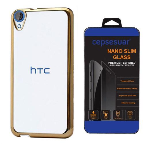 Cepsesuar Htc Desire 820 Kılıf Silikon Lazer Gold - Kırılmaz Cam
